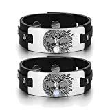 Tree of Life Celtic Powers Love Couples White Sky Blue Simulated Cats Eye Black Leather Tag Bracelets