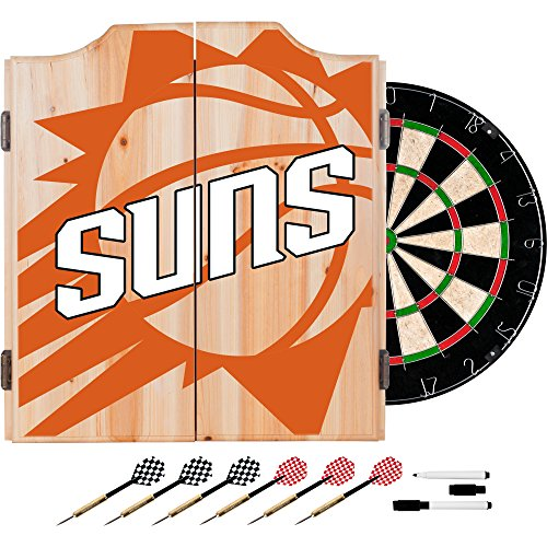 Trademark Gameroom NBA7010-PS2 NBA Dart Cabinet Set with Darts & Board - Fade - Phoenix Suns Phoenix Suns Dart