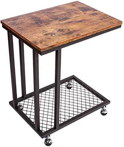IRONCK Industrial Side Table Living Room, TV Tray Tables Mobile Snack Sofa Table, Small Table on Wheels for Small Space, Slides Next to Couch, Metal Frame