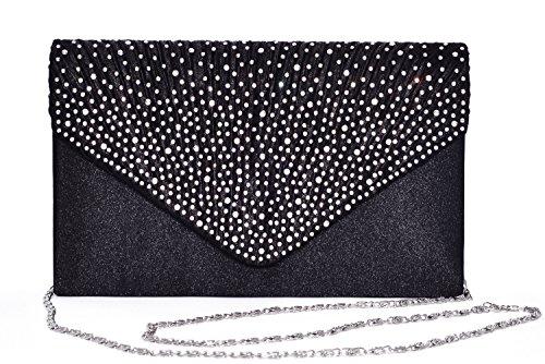 (Outrip Women's Evening Bag Clutch Purse Glitter Party Wedding Handbag with Chain (B Black))