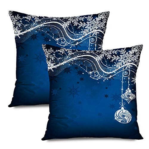 Ahawoso Set of 2 Throw Pillow Covers Square 18x18 Blue Christmas Gradient Hanging Bauble Decoration Star Baubles Snowflakes Miscellaneous Holidays Zippered Pillowcases Home Decor Cushion Cases