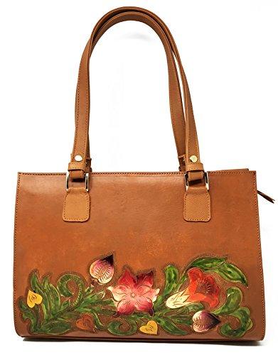 Savannah Vintage Floral Artisan Leather Handmade Shoulder Handbag Designer Gift for Women (Suede Leather Purse)