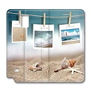 Samsung Galaxy Note 4 Case,The sea photo frame Custom Samsung Galaxy Note 4 High-grade leather Cases