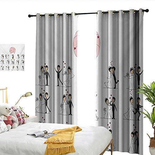 (WinfreyDecor Wedding Light Luxury high-end Curtains Bride and Groom Wedding Pictures in Comic Book Style Honeymoon Celebration Darkening and Thermal Insulating W84 x L96)