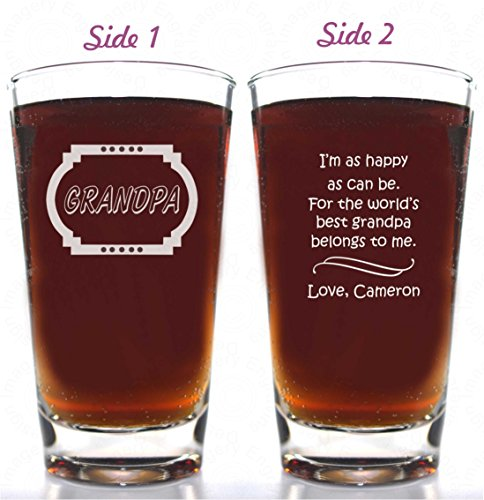 Grandfather Gift World's Best Grandpa Belongs to Me Beer Glass 14oz Double Sided Choice of Titles and Personalized with child's name