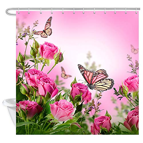 NYMB Pink Flowers Shower Curtain, Butterflies and Spa Home of Spring Theme Zen Floral House, Fabric Bathroom Decorations, Bath Curtains Hooks Included, 69X70 inches ...