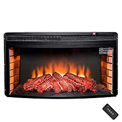 "AKDY 33"" Freestanding 1400W Adjustable 5200BTU Tempered Glass 6 Setting LED Insert Electric Fireplace Stove by AKDY"