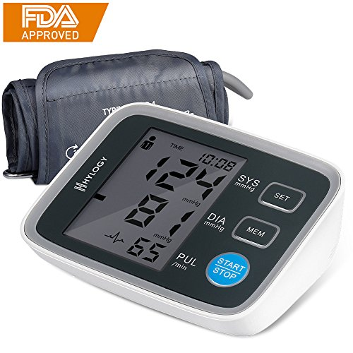 Blood Pressure Monitor, HYLOGY Digital Automatic Upper Arm BP Monitor Cuff 8.7 to 12.6 inch, Large Screen Display and 2 Users Mode 2 * 90 Memory (Pressure Number)