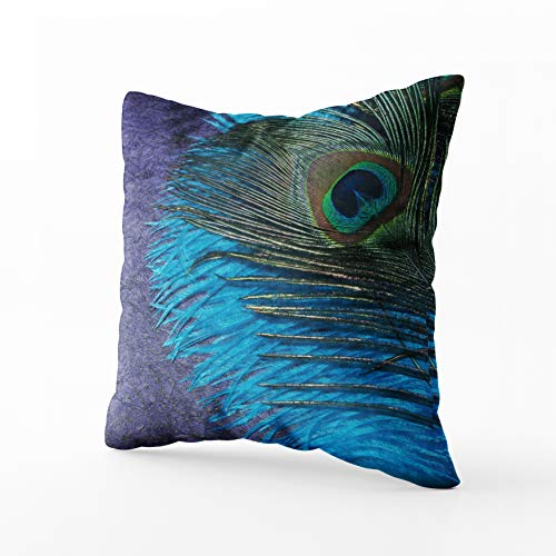 - Musesh Christams Teal Peacock Cushions Case Throw Pillow Cover for Sofa Home Decorative Pillowslip Gift Ideas Household Pillowcase Zippered Pillow Covers 18X18Inch