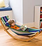 Childrens Compact Rocking Floor Hammock with Wood Frame and Cotton Fabric Hammock 50 L x 14 W