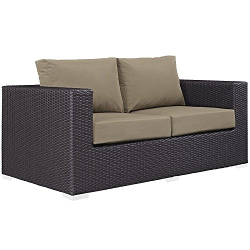 Modway Convene Wicker Rattan Outdoor Patio Loveseat in Espresso Mocha Review
