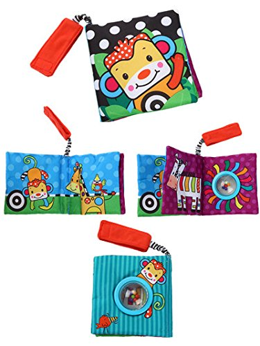 Challen Fabric Baby Soft Cloth Books Toys, Early Development & Activity Toys,Infant/Toddler Tails Cloth Books Toy, Crinkle Non-Toxic Soft Baby's First Book Animal)