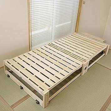 Amazon|総桐折りたたみ式ベッド 桐らくね  |ベッドフレーム