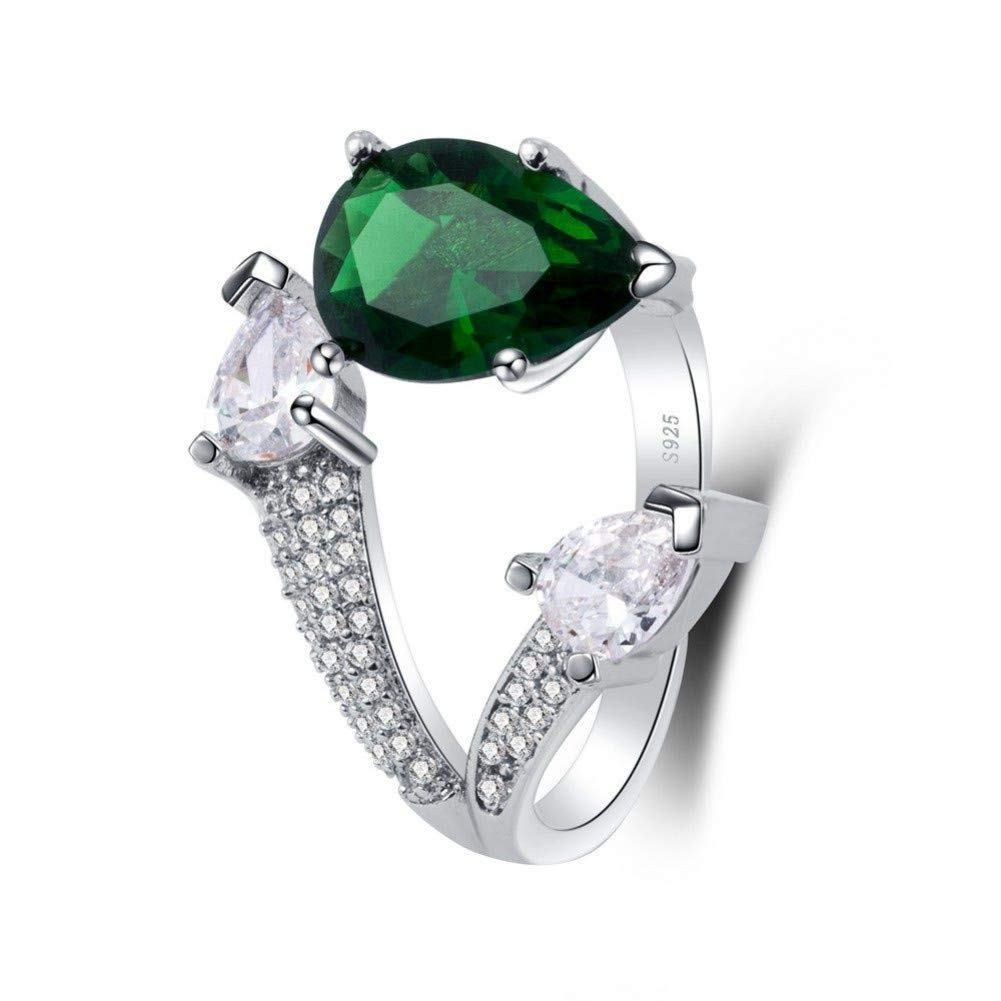 HCBYJ Lady ring Green Charm Ring Drop Pattern 925 Sterling Silver Jewelry