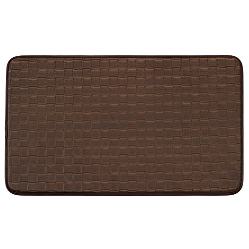 Chef Gear Faux-Leather Basket Weave 18 x 30 in. Comfort Chef Mat, Mocha