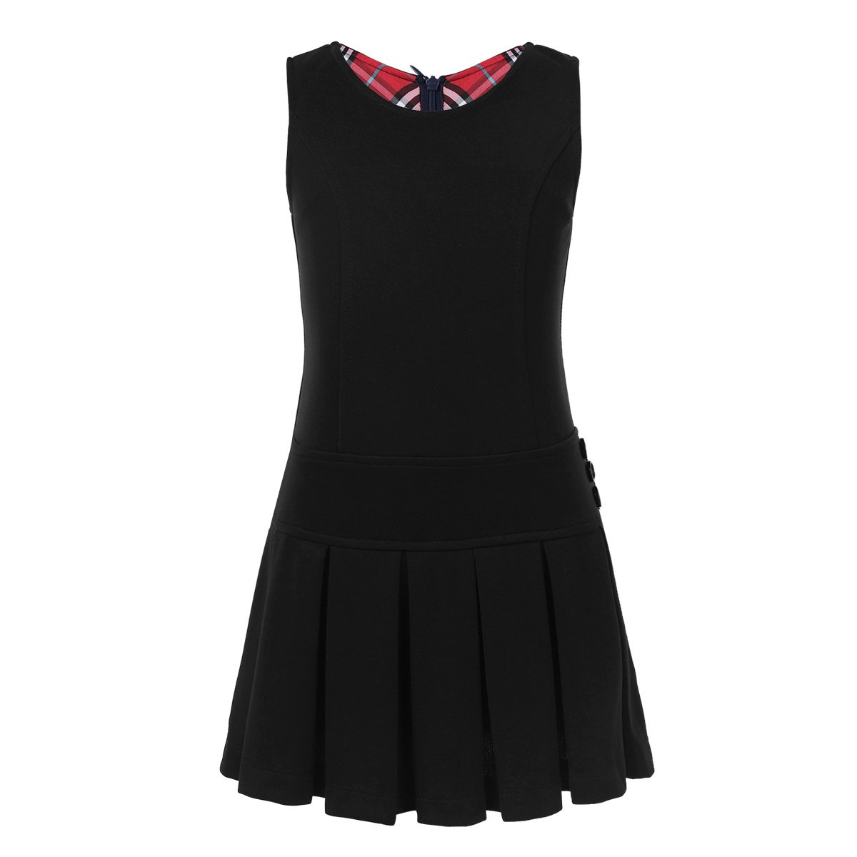 YiZYiF Girls' Kids' Stretchy Pleated Hem Durable School Uniform Jumper Dress Skirt Size 2-9 Black 5-6