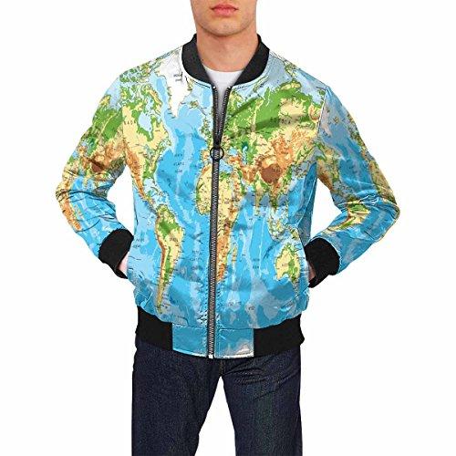 INTERESTPRINT Physical Map of The World Men's Lightweight Slim Fit Jacket Casual Wear XL