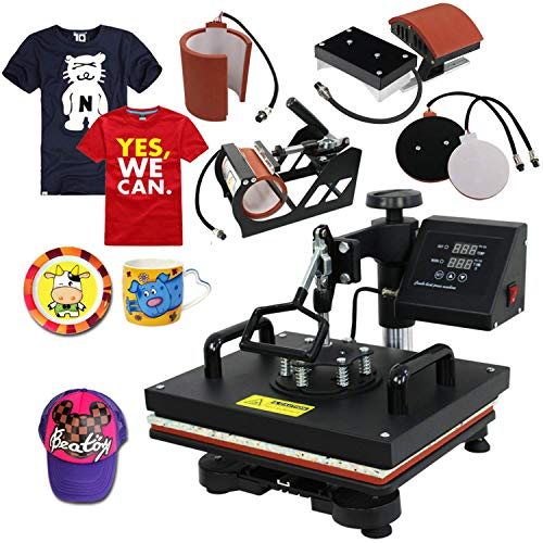 (Super Deal PRO 5 in 1 Heat Press Machine Multifunction Sublimation T Shirt Press Machine)