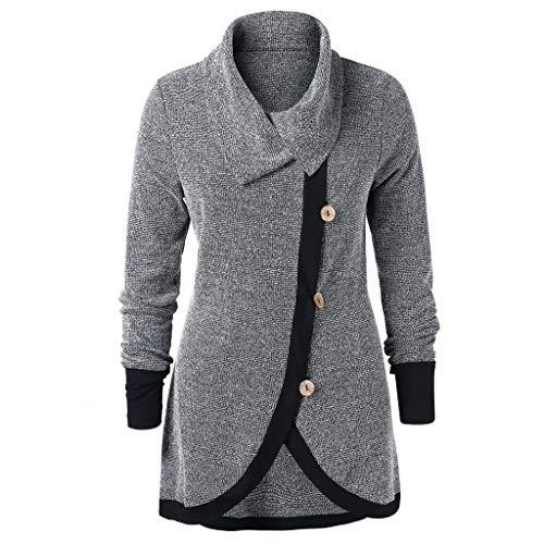 Women Plus Size Women Contrast Trim Buttons Knit Top Block Color Long Sleeve Bloues (L, Grey)