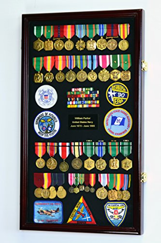 Large Military Medals, Pins, Patches, Insignia, Ribbons, Flag Display Case Cabinet, Cherry