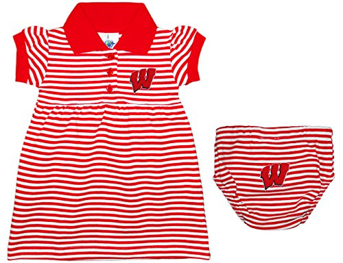 University of Wisconsin Badgers Striped Game Day Dress with Bloomer Red