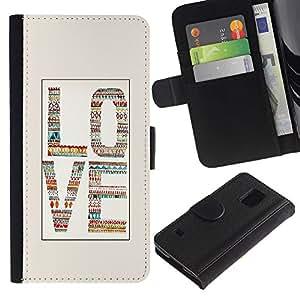 Be Good Phone Accessory // Caso del tirón Billetera de Cuero Titular de la tarjeta Carcasa Funda de Protección para Samsung Galaxy S5 V SM-G900 // Love Beige White Text Quilted Letter