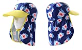 CHUNG Toddler Little Boys Girls Swim Sun Hat with Flap UV Proof Sun Protection, Navy Shark