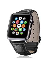 Apple Watch Band,iitee Genuine Crocodile Grain Leather Band for Apple Watch Buckle Metal Clasp Strap (38mm black)
