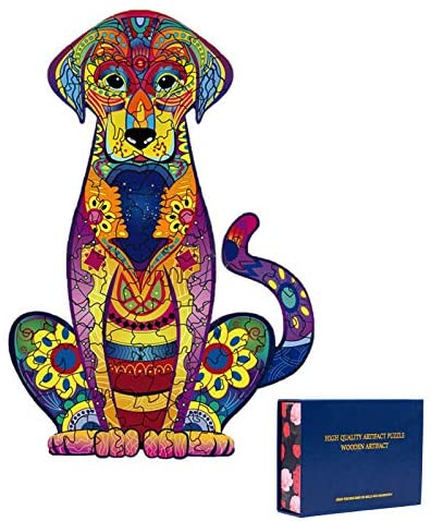 "Wooden Puzzles for Adults,Wooden Animals Shaped Puzzles,Unique Shaped Jigsaw Puzzles,Magic Wooden Jigsaw Puzzles,103 Pieces Wood Puzzles Adult,Labrador Unique Puzzles 9.25""x6.3"""