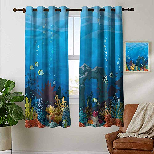petpany Decorative Curtains for Living Room Aquarium,Fish Coral and Stone Arch,Blackout Draperies for Bedroom 42