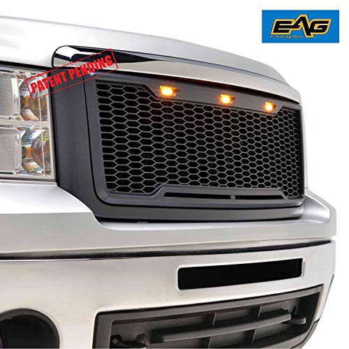 EAG Replacement Sierra Grille Upper Front Honeycomb Grill With Amber LED Lights - Matte Black for 07-13 GMC Sierra 1500 ()
