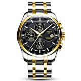JIANIANHUA Mens Business Multifunction Steel Watchband Triple Windows Automatic Mechanical Watch Wristwatch - gold bezel black dial