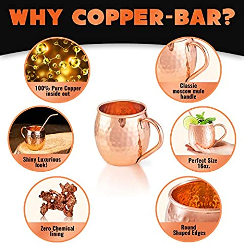 Moscow Mule Copper Mugs – Set of 2 – 100% HANDCRAFTED Pure Solid Copper Mugs – 16 oz Gift Set with Highest Quality…