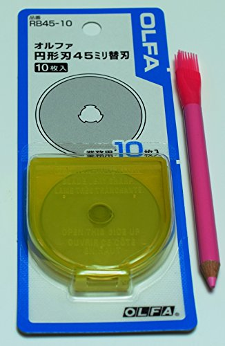 OLFA 45mm Tungsten Tool Steel Rotary Blades,Set of 10, + marking pen [Japan Import] (45mm x 10)