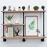 Industrial Pipe Shelf with Wood 43.3in,Rustic Wall Mount Shelf 3-Tiers,Metal Hung Bracket Bookshelf,Diy Storage Shelving Floating Shelves 7
