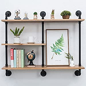 Industrial Pipe Shelf with Wood 43.3in,Rustic Wall Mount Shelf 3-Tiers,Metal Hung Bracket Bookshelf,DIY Storage Shelving Floating Shelves