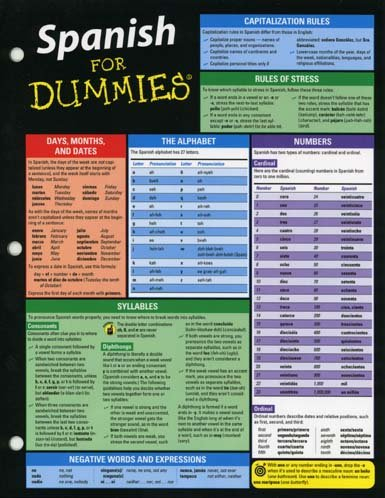Spanish For Dummies Deluxe Cheat Sheet 9781118369296 Amazon Com Books