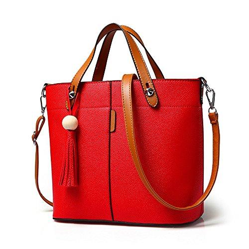 Color Block Genuine Leather - Mn&Sue Stylish Women Pu Leather Tassels Cross Body Shoulder Hobo Color Block Designer Bucket Handbag Purse (Red)