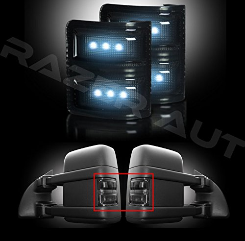 Razer Auto Mirror LED Lights, Smoke Lens & Black Base & White LED for 08-15 Ford F250/F350/F450/F550 Superduty - Mirrors Smoke Led Lens