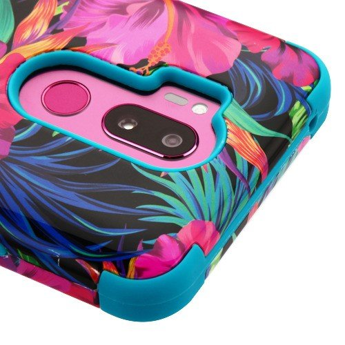 For LG G7 ThinQ Military Grade Case Shockproof Hybrid Rugged Accessory Armor Phone Cover (Tropical Flower)
