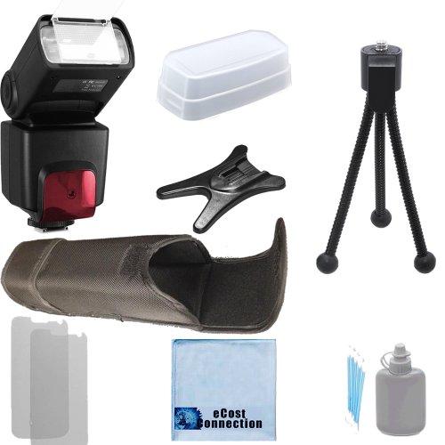 Pro Series Digital SLR Auto-Focus/Auto Power Zoom TTL Flash w/LCD Display for Nikon D5500, D810, D750, D3100, D3200, D5100, D5200, D7000, D7100 DSLR Camera + Complete Starter Kit