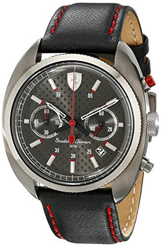 Metallic Leather Calfskin (Ferrari Men's 830209 Formula Sportiva Analog Display Quartz Black Watch)