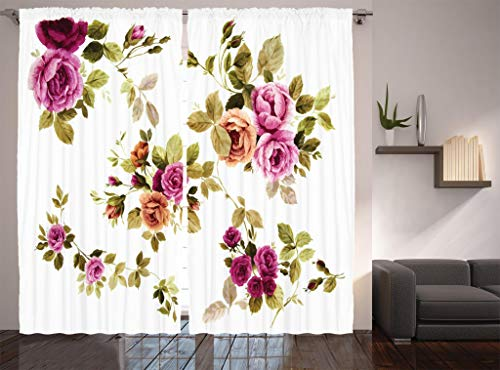 (Ambesonne Watercolor Flower Decor Collection, Branch of Rose Blossoming Classic Floral Design, Window Treatments, Living Room Bedroom Curtain 2 Panels Set, 108 X 84 Inches, Purple Green White Olive)