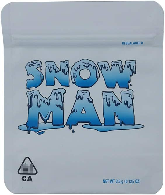 10 Pack Cookies Snowman Mylar Bags 3.5g Smellproof Heatseal Ziplock Resealable Bags (Snowman Mylar Bags 3.5g)