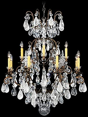 Schonbek 3572-76AD Swarovski Lighting Renaissance Rock Crystal Chandelier, Heirloom Bronze