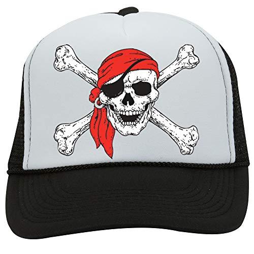 (NeeNoNex Pirate Skull & Crossbones Polyester Foam Front Mesh Back Trucker Hat (White & Black))