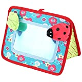 Tnfeeon Crib and Floor Activity Mirror, Safe Beetle Ring-Down Baby Cognitive Mirror Stroller Hanging Toy