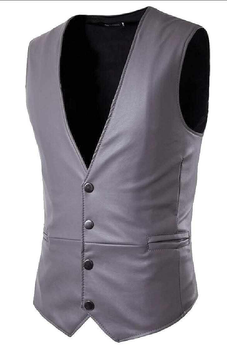UNINUKOO Unko Mens Sleeveless Motorcycle Jacket Vest Faux Leather Slim Fit Waistcoat