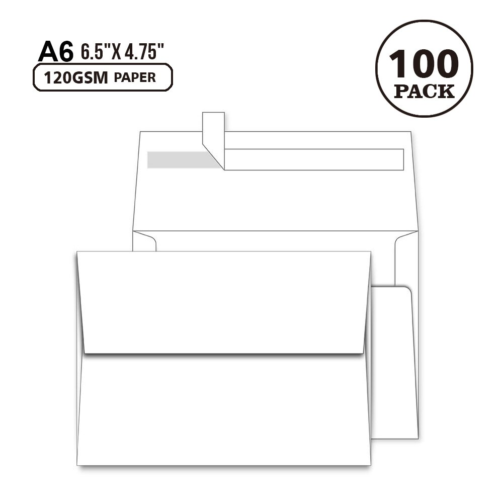 A6 White Envelopes 4X6 100 Pack - Quick Self Seal,for 4x6 Cards| Perfect for Weddings, Invitations, Photos, Graduation, Baby Shower| 6.5 x 4.75 inches (A6)