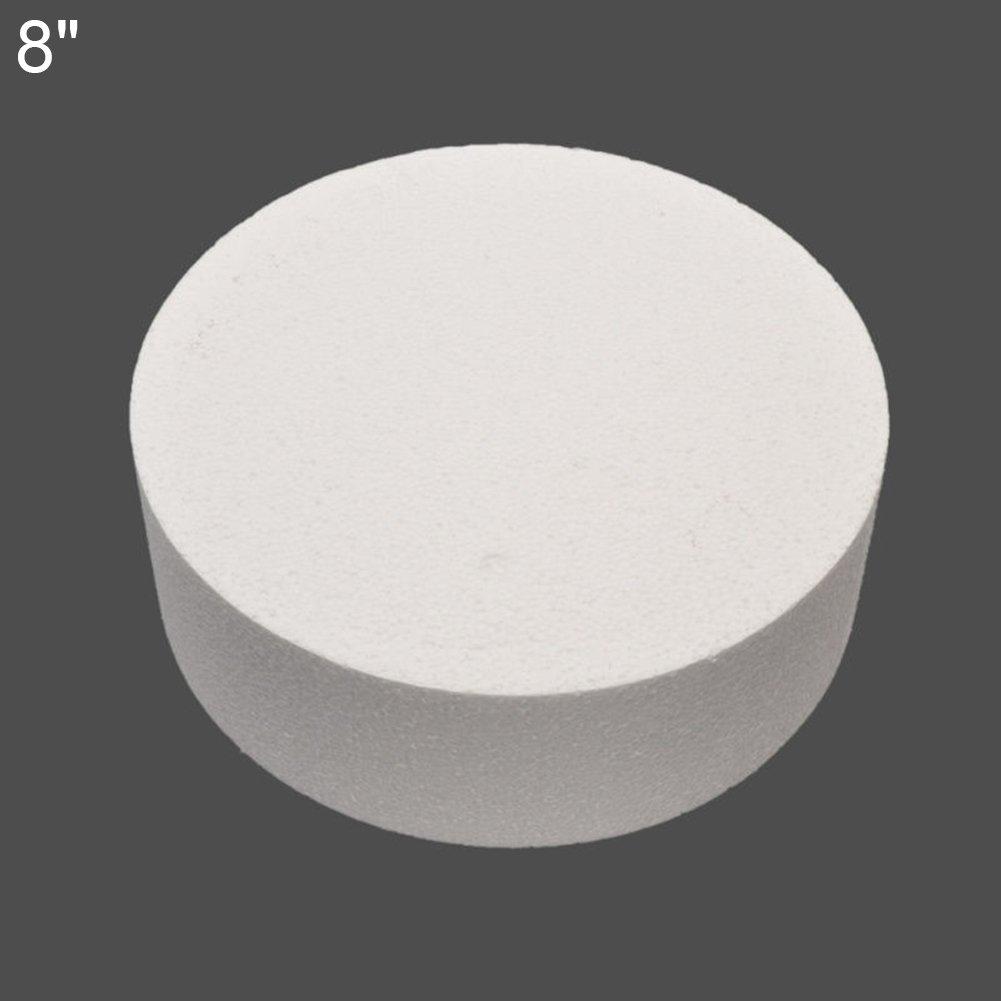 Round Cake Dummy Styrofoam White Baking Diameter Practice Dummy 4/6/8inch size 8''